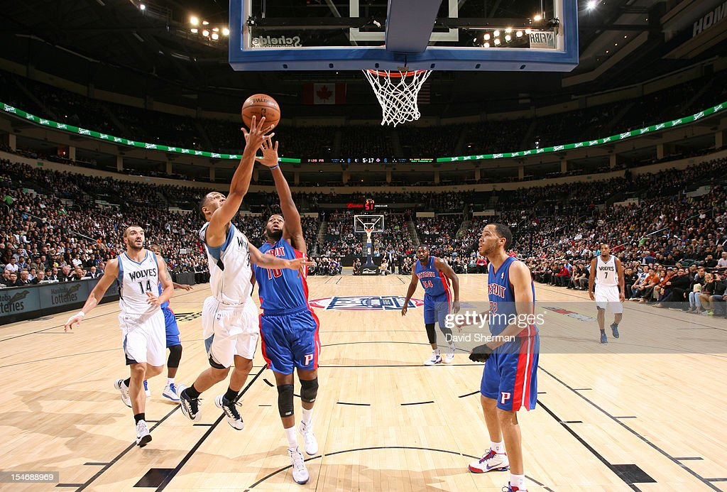 <a gi-track='captionPersonalityLinkClicked' href=/galleries/search?phrase=Greg+Monroe&family=editorial&specificpeople=5042440 ng-click='$event.stopPropagation()'>Greg Monroe</a> #10 of the Detroit Pistons battle for the ball control the Minnesota Timberwolves during the game between the Minnesota Timberwolves and the Detroit Pistons during the NBA preseason as part of NBA Canada Series 2012 on October 24, 2012 at the MTS Centre in Winnipeg, Manitoba, Canada.