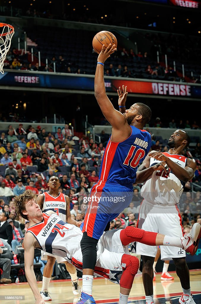 <a gi-track='captionPersonalityLinkClicked' href=/galleries/search?phrase=Greg+Monroe&family=editorial&specificpeople=5042440 ng-click='$event.stopPropagation()'>Greg Monroe</a> #10 of the Detroit Pistons collides with <a gi-track='captionPersonalityLinkClicked' href=/galleries/search?phrase=Jan+Vesely&family=editorial&specificpeople=5620499 ng-click='$event.stopPropagation()'>Jan Vesely</a> #24 of the Washington Wizards at the Verizon Center on December 22, 2012 in Washington, DC.