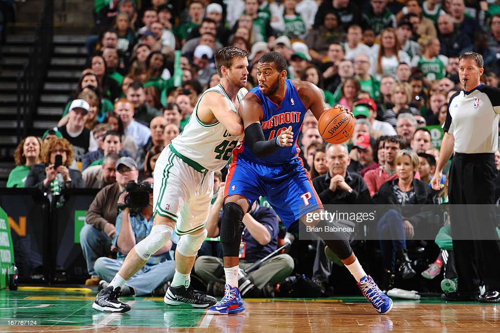 <a gi-track='captionPersonalityLinkClicked' href=/galleries/search?phrase=Greg+Monroe&family=editorial&specificpeople=5042440 ng-click='$event.stopPropagation()'>Greg Monroe</a> #10 of the Detroit Pistons controls the ball against <a gi-track='captionPersonalityLinkClicked' href=/galleries/search?phrase=Shavlik+Randolph&family=editorial&specificpeople=210678 ng-click='$event.stopPropagation()'>Shavlik Randolph</a> #42 of the Boston Celtics on April 3, 2013 at the TD Garden in Boston, Massachusetts.