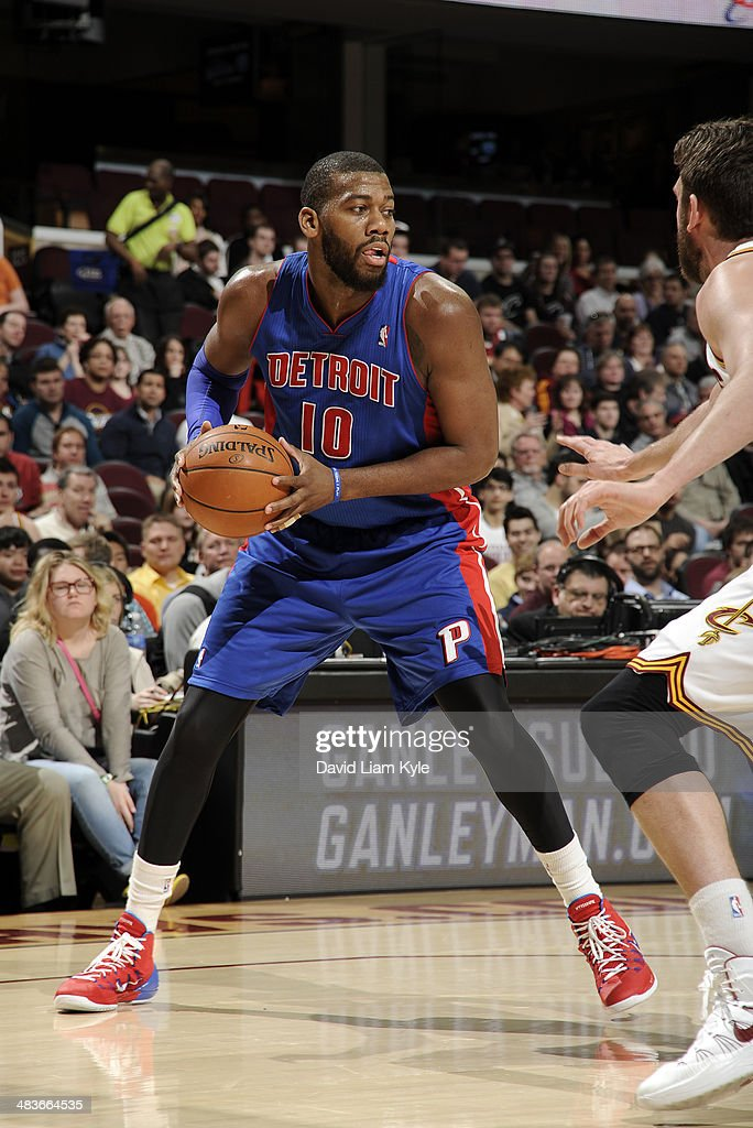 <a gi-track='captionPersonalityLinkClicked' href=/galleries/search?phrase=Greg+Monroe&family=editorial&specificpeople=5042440 ng-click='$event.stopPropagation()'>Greg Monroe</a> #10 of the Detroit Pistons controls the ball against the Cleveland Cavaliers at The Quicken Loans Arena on April 9, 2014 in Cleveland, Ohio.