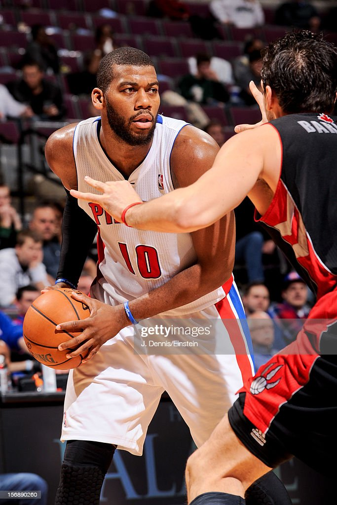 Greg Monroe #10 of the Detroit Pistons controls the ball against the Toronto Raptors on November 23, 2012 at The Palace of Auburn Hills in Auburn Hills, Michigan.