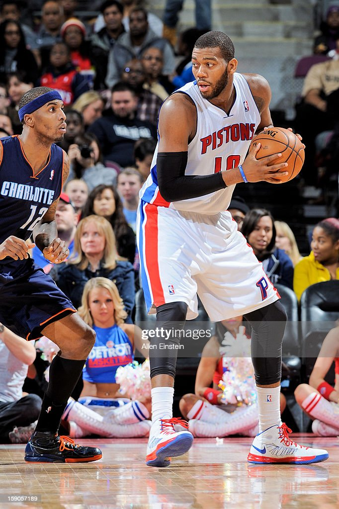 Greg Monroe #10 of the Detroit Pistons controls the ball against the Charlotte Bobcats on January 6, 2013 at The Palace of Auburn Hills in Auburn Hills, Michigan.