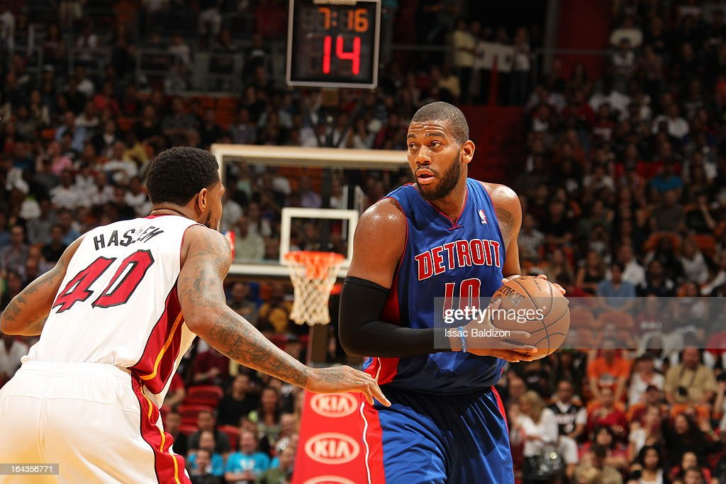<a gi-track='captionPersonalityLinkClicked' href=/galleries/search?phrase=Greg+Monroe&family=editorial&specificpeople=5042440 ng-click='$event.stopPropagation()'>Greg Monroe</a> #10 of the Detroit Pistons controls the ball against <a gi-track='captionPersonalityLinkClicked' href=/galleries/search?phrase=Udonis+Haslem&family=editorial&specificpeople=201748 ng-click='$event.stopPropagation()'>Udonis Haslem</a> #40 of the Miami Heat on March 22, 2013 at American Airlines Arena in Miami, Florida.