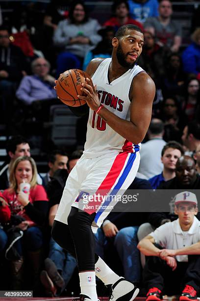 Greg Monroe of the Detroit Pistons defends the ball against the Chicago Bulls during the game on February 20 2015 at The Palace of Auburn Hills in...