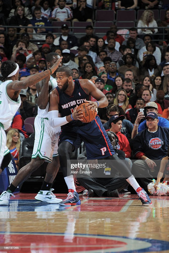 <a gi-track='captionPersonalityLinkClicked' href=/galleries/search?phrase=Greg+Monroe&family=editorial&specificpeople=5042440 ng-click='$event.stopPropagation()'>Greg Monroe</a> #10 of the Detroit Pistons drives against the Boston Celtics on November 3, 2013 at The Palace of Auburn Hills in Auburn Hills, Michigan.