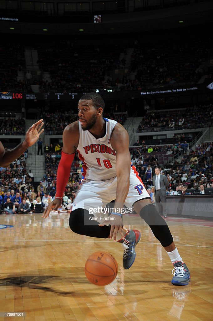 <a gi-track='captionPersonalityLinkClicked' href=/galleries/search?phrase=Greg+Monroe&family=editorial&specificpeople=5042440 ng-click='$event.stopPropagation()'>Greg Monroe</a> #10 of the Detroit Pistons drives baseline against the Indiana Pacers during the game on March 15, 2014 at The Palace of Auburn Hills in Auburn Hills, Michigan.