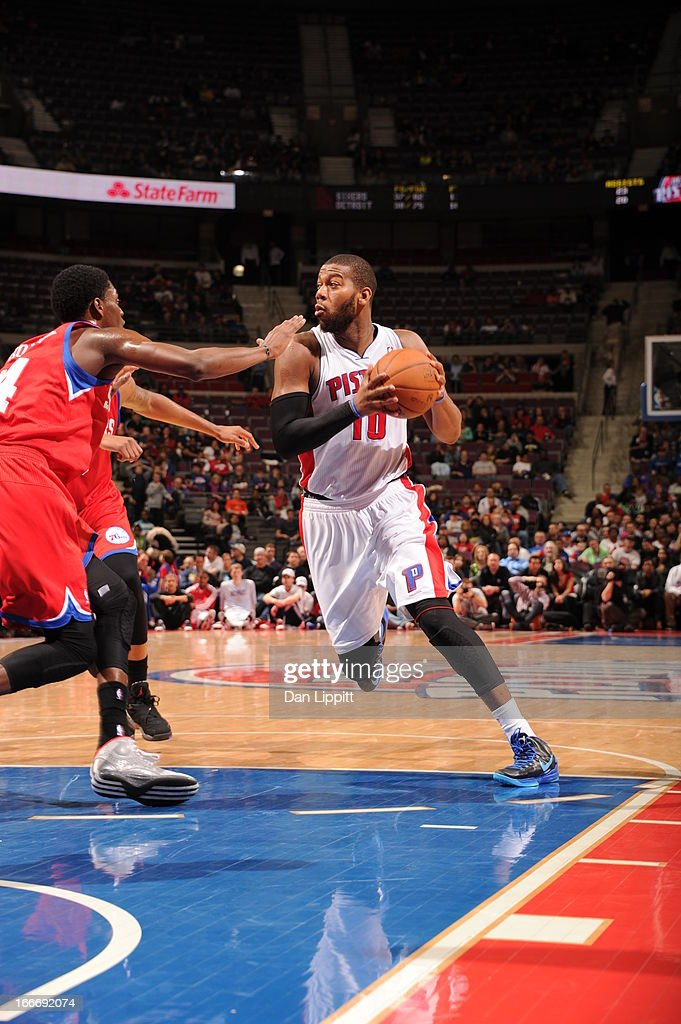 Greg Monroe #10 of the Detroit Pistons drives during the game between the Detroit Pistons and the Philadelphia 76ers on April 15, 2013 at The Palace of Auburn Hills in Auburn Hills, Michigan.