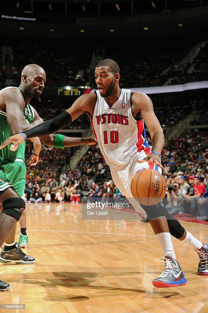 Greg Monroe #10 of the Detroit Pistons drives to the basket against Kevin Garnett #5 of the Boston Celtics on January 20, 2013 at The Palace of Auburn Hills in Auburn Hills, Michigan.