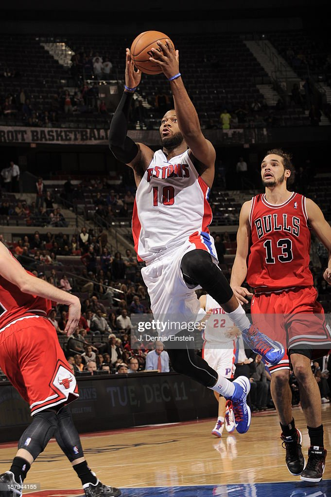 Greg Monroe #10 of the Detroit Pistons drives to the basket against the Chicago Bulls on December 7, 2012 at The Palace of Auburn Hills in Auburn Hills, Michigan.