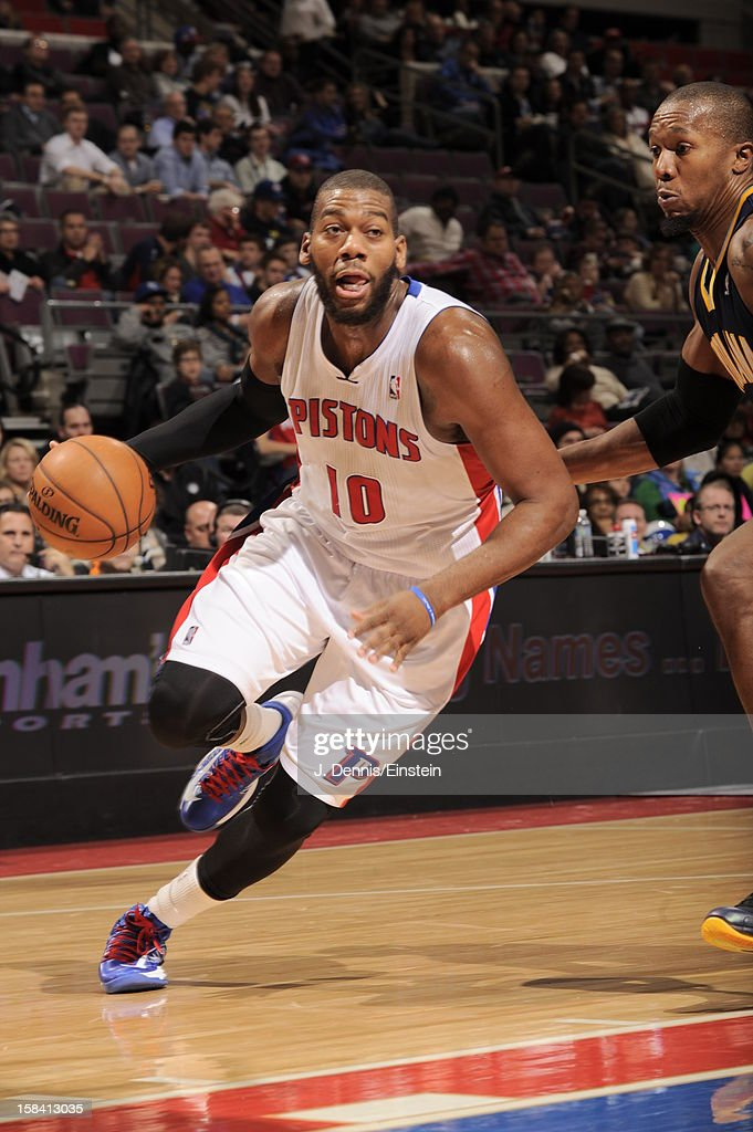 <a gi-track='captionPersonalityLinkClicked' href=/galleries/search?phrase=Greg+Monroe&family=editorial&specificpeople=5042440 ng-click='$event.stopPropagation()'>Greg Monroe</a> #10 of the Detroit Pistons drives to the basket against the Indiana Pacers during the game on December 15, 2012 at The Palace of Auburn Hills in Auburn Hills, Michigan.