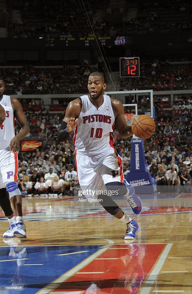 Greg Monroe #10 of the Detroit Pistons drives to the basket against the Utah Jazz during the game on January 12, 2013 at The Palace of Auburn Hills in Auburn Hills, Michigan.