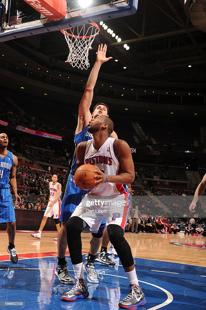 <a gi-track='captionPersonalityLinkClicked' href=/galleries/search?phrase=Greg+Monroe&family=editorial&specificpeople=5042440 ng-click='$event.stopPropagation()'>Greg Monroe</a> #10 of the Detroit Pistons drives to the basket against the Orlando Magic on January 22, 2013 at The Palace of Auburn Hills in Auburn Hills, Michigan.