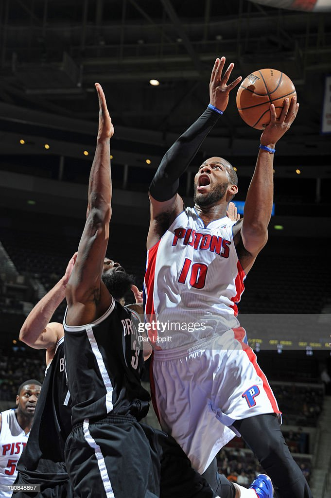 Greg Monroe #10 of the Detroit Pistons drives to the basket against the Brooklyn Nets on February 6, 2013 at The Palace of Auburn Hills in Auburn Hills, Michigan.