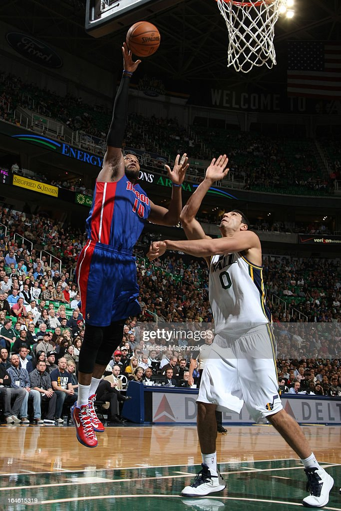 <a gi-track='captionPersonalityLinkClicked' href=/galleries/search?phrase=Greg+Monroe&family=editorial&specificpeople=5042440 ng-click='$event.stopPropagation()'>Greg Monroe</a> #10 of the Detroit Pistons drives to the basket against the Utah Jazz on March 11, 2013 in Salt Lake City, Utah.