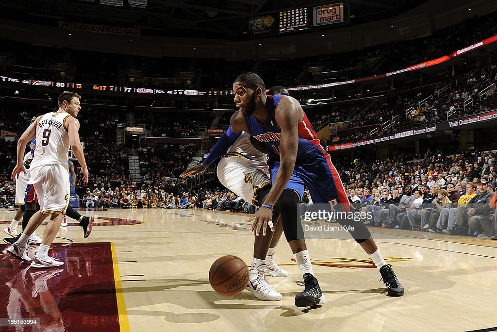 <a gi-track='captionPersonalityLinkClicked' href=/galleries/search?phrase=Greg+Monroe&family=editorial&specificpeople=5042440 ng-click='$event.stopPropagation()'>Greg Monroe</a> #10 of the Detroit Pistons drives to the basket against the Cleveland Cavaliers at The Quicken Loans Arena on October 17, 2013 in Cleveland, Ohio.