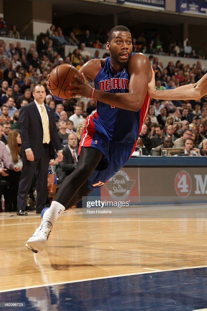 <a gi-track='captionPersonalityLinkClicked' href=/galleries/search?phrase=Greg+Monroe&family=editorial&specificpeople=5042440 ng-click='$event.stopPropagation()'>Greg Monroe</a> #10 of the Detroit Pistons drives to the basket against the Indiana Pacers at Bankers Life Fieldhouse on April 2, 2014 in Indianapolis, Indiana.