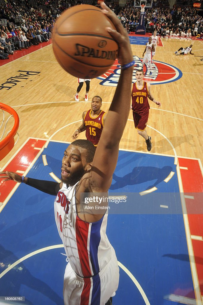 <a gi-track='captionPersonalityLinkClicked' href=/galleries/search?phrase=Greg+Monroe&family=editorial&specificpeople=5042440 ng-click='$event.stopPropagation()'>Greg Monroe</a> #10 of the Detroit Pistons dunks against the Cleveland Cavaliers on February 1, 2013 at The Palace of Auburn Hills in Auburn Hills, Michigan.
