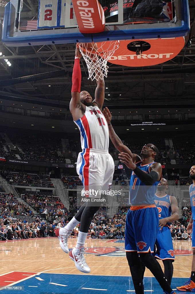 <a gi-track='captionPersonalityLinkClicked' href=/galleries/search?phrase=Greg+Monroe&family=editorial&specificpeople=5042440 ng-click='$event.stopPropagation()'>Greg Monroe</a> #10 of the Detroit Pistons dunks during a game against the New York Knicks on March 3, 2014 at The Palace of Auburn Hills in Auburn Hills, Michigan.