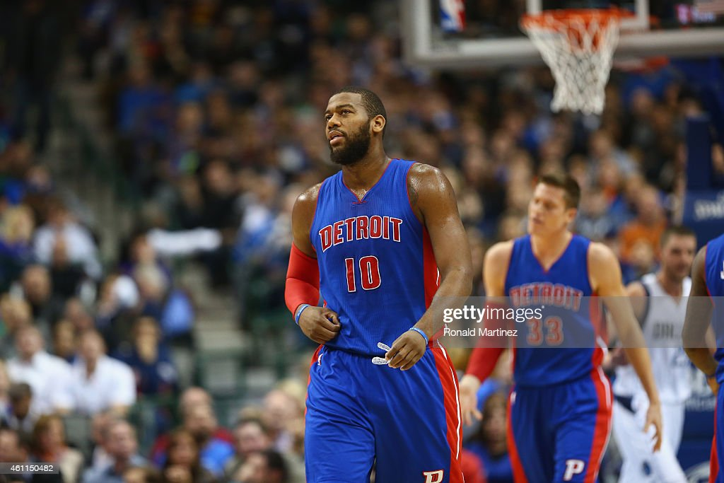 <a gi-track='captionPersonalityLinkClicked' href=/galleries/search?phrase=Greg+Monroe&family=editorial&specificpeople=5042440 ng-click='$event.stopPropagation()'>Greg Monroe</a> #10 of the Detroit Pistons during play against the Dallas Mavericks at American Airlines Center on January 7, 2015 in Dallas, Texas.
