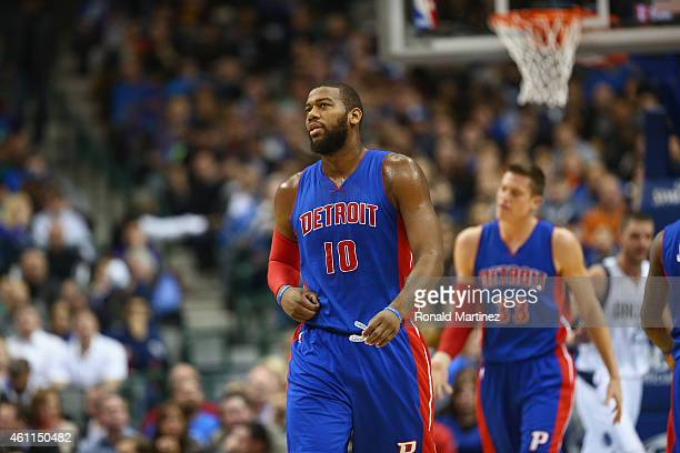 Greg Monroe of the Detroit Pistons during play against the Dallas Mavericks at American Airlines Center on January 7 2015 in Dallas Texas NOTE TO...