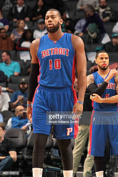 Greg Monroe of the Detroit Pistons during the game against the Charlotte Hornets at the Time Warner Cable Arena on February 10 2015 in Charlotte...