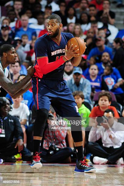 Greg Monroe of the Detroit Pistons during the game against the Charlotte Hornets on April 12 2015 at The Palace of Auburn in Detroit Michigan NOTE TO...