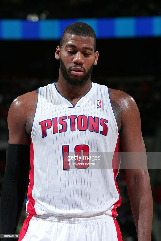 Greg Monroe #10 of the Detroit Pistons during the game between the Detroit Pistons and the Toronto Raptors on March 29, 2013 at The Palace of Auburn Hills in Auburn Hills, Michigan.