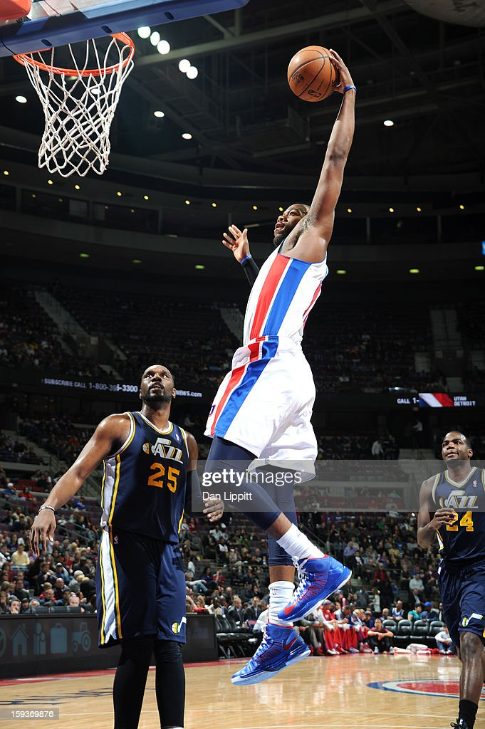 Greg Monroe #10 of the Detroit Pistons goes in for the slam dunk against the Utah Jazz during the game on January 12, 2013 at The Palace of Auburn Hills in Auburn Hills, Michigan.