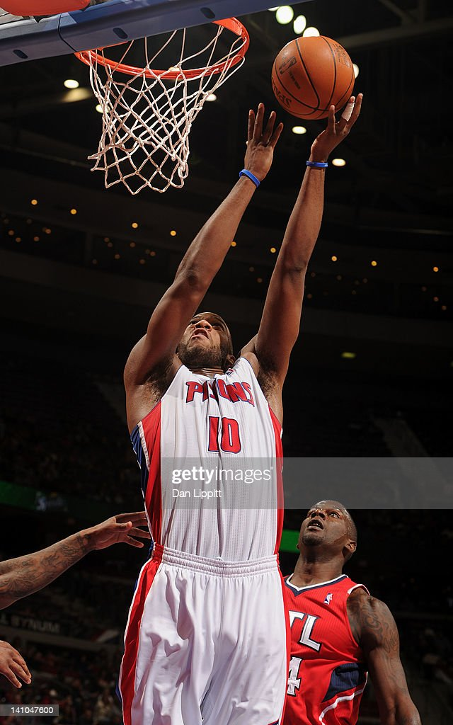 Greg Monroe #10 of the Detroit Pistons goes to the basket during the game against the Atlanta Hawks on March 9, 2012 at The Palace of Auburn Hills in Auburn Hills, Michigan.