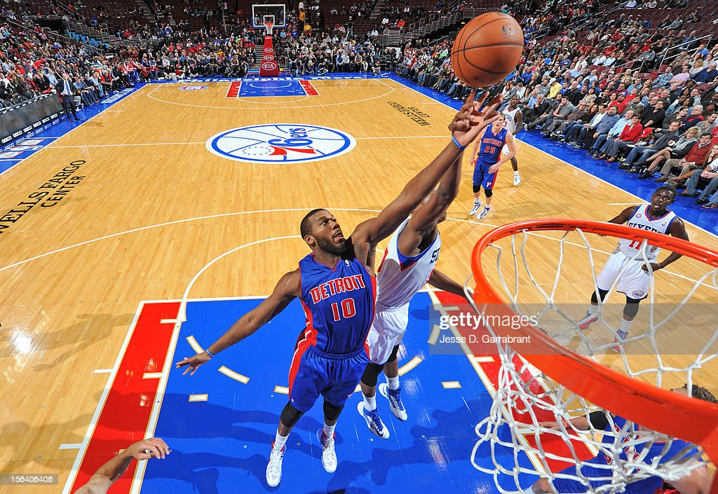 Greg Monroe #10 of the Detroit Pistons goes to the basket during the game between Detroit Pistons and the Philadelphia 76ers at the Wells Fargo Center on November 14, 2012 in Philadelphia, Pennsylvania.