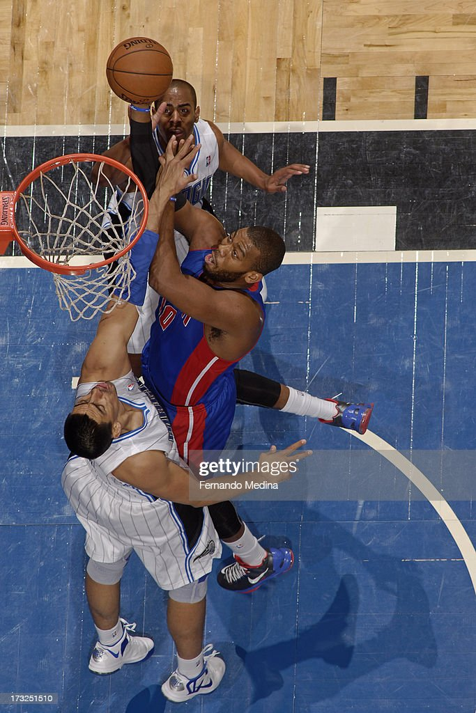 <a gi-track='captionPersonalityLinkClicked' href=/galleries/search?phrase=Greg+Monroe&family=editorial&specificpeople=5042440 ng-click='$event.stopPropagation()'>Greg Monroe</a> #10 of the Detroit Pistons goes to the basket during the game between the Detroit Pistons and the Orlando Magic on January 27, 2013 at Amway Center in Orlando, Florida.