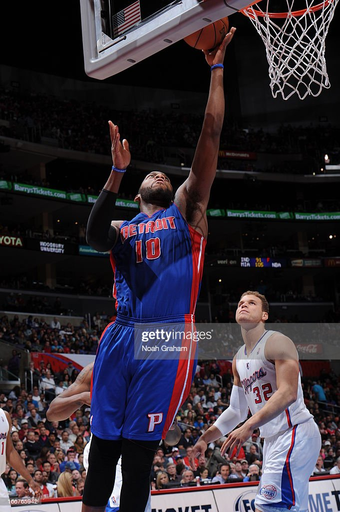 <a gi-track='captionPersonalityLinkClicked' href=/galleries/search?phrase=Greg+Monroe&family=editorial&specificpeople=5042440 ng-click='$event.stopPropagation()'>Greg Monroe</a> #10 of the Detroit Pistons goes up for the layup against the Los Angeles Clippers at Staples Center on March 10, 2013 in Los Angeles, California.