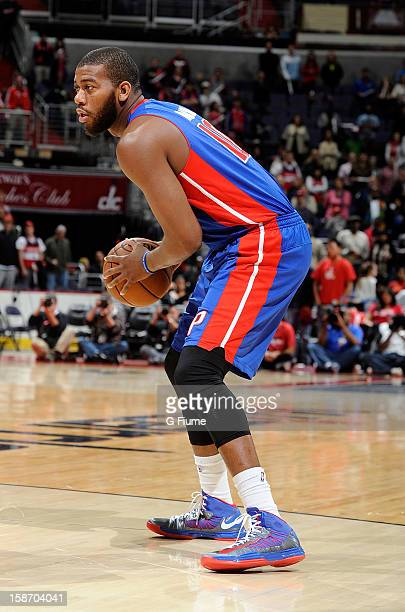 Greg Monroe of the Detroit Pistons handles the ball against the Washington Wizards at the Verizon Center on December 22 2012 in Washington DC NOTE TO...