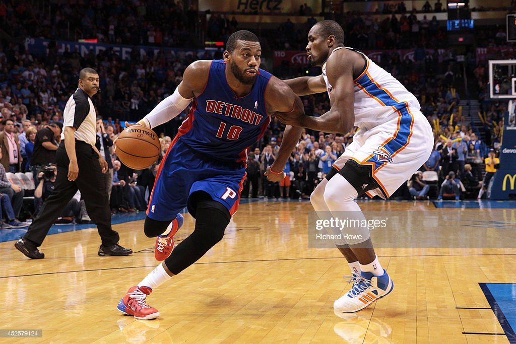 <a gi-track='captionPersonalityLinkClicked' href=/galleries/search?phrase=Greg+Monroe&family=editorial&specificpeople=5042440 ng-click='$event.stopPropagation()'>Greg Monroe</a> #10 of the Detroit Pistons handles the ball against the Oklahoma City Thunder at the Chesapeake Arena on April 16, 2014 in Oklahoma City, Oklahoma.