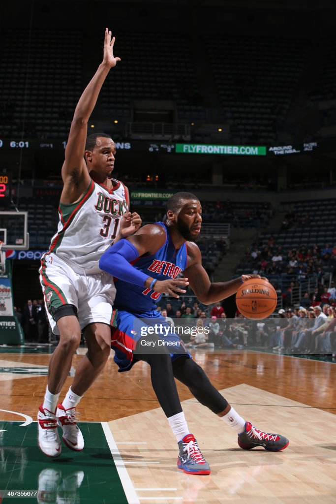 <a gi-track='captionPersonalityLinkClicked' href=/galleries/search?phrase=Greg+Monroe&family=editorial&specificpeople=5042440 ng-click='$event.stopPropagation()'>Greg Monroe</a> #10 of the Detroit Pistons handles the ball against the Milwaukee Bucks on December 4, 2013 at the BMO Harris Bradley Center in Milwaukee, Wisconsin.