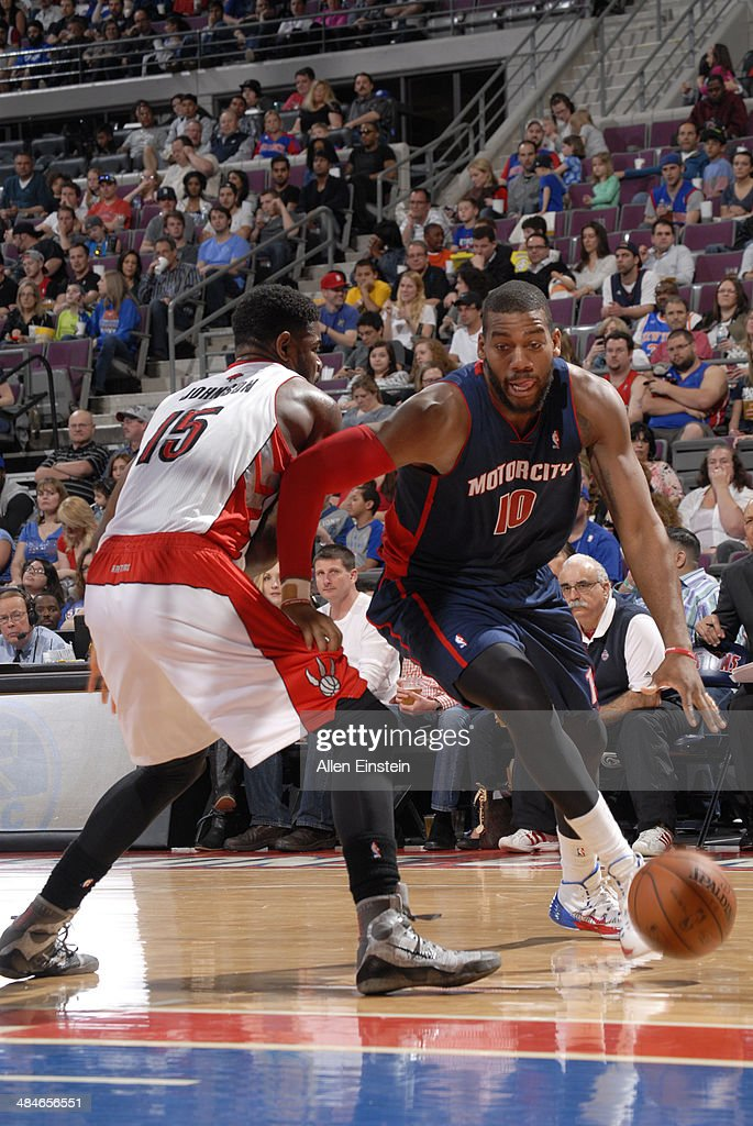 <a gi-track='captionPersonalityLinkClicked' href=/galleries/search?phrase=Greg+Monroe&family=editorial&specificpeople=5042440 ng-click='$event.stopPropagation()'>Greg Monroe</a> #10 of the Detroit Pistons handles the ball against the Toronto Raptors on April 13, 2014 at The Palace of Auburn Hills in Auburn Hills, Michigan.