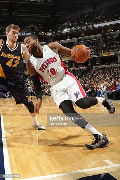 Greg Monroe of the Detroit Pistons handles the ball against the Indiana Pacers during the game on February 4 2015 at Bankers Life Fieldhouse in...