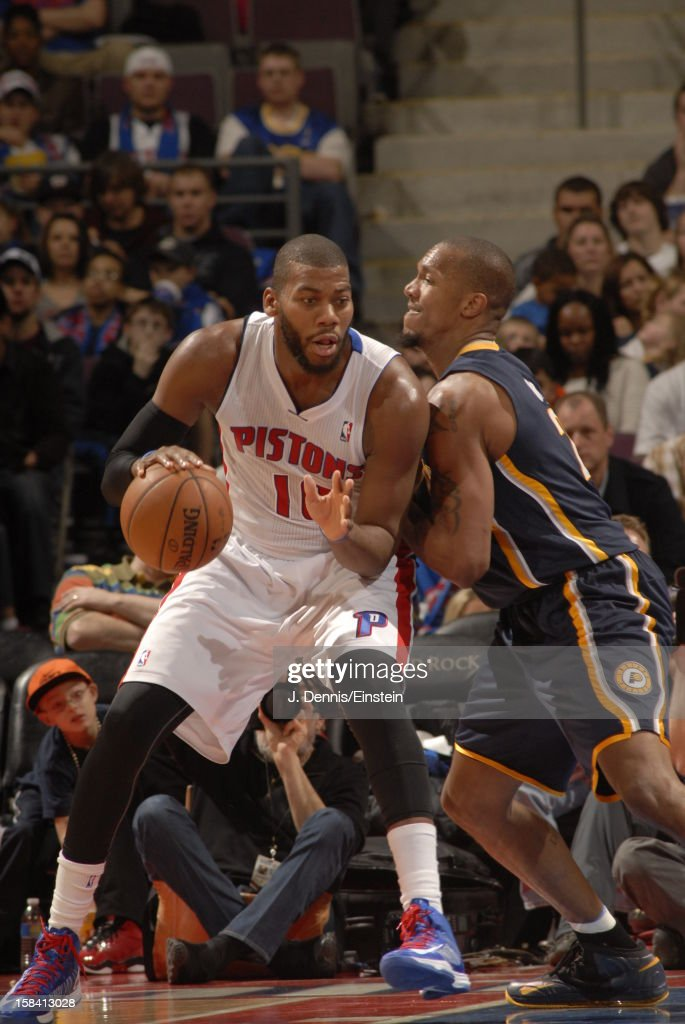 <a gi-track='captionPersonalityLinkClicked' href=/galleries/search?phrase=Greg+Monroe&family=editorial&specificpeople=5042440 ng-click='$event.stopPropagation()'>Greg Monroe</a> #10 of the Detroit Pistons looks for an open man against the Indiana Pacers during the game on December 15, 2012 at The Palace of Auburn Hills in Auburn Hills, Michigan.