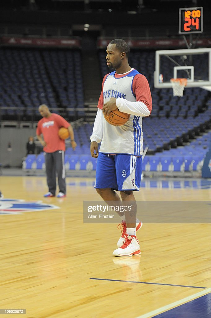 <a gi-track='captionPersonalityLinkClicked' href=/galleries/search?phrase=Greg+Monroe&family=editorial&specificpeople=5042440 ng-click='$event.stopPropagation()'>Greg Monroe</a> #10 of the Detroit Pistons looks on during practice at the O2 Arena as part of London Live 2013 on January 16, 2013 in London, England.