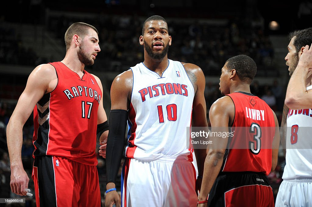 Greg Monroe #10 of the Detroit Pistons looks on during the game between the Detroit Pistons and the Toronto Raptors on March 29, 2013 at The Palace of Auburn Hills in Auburn Hills, Michigan.