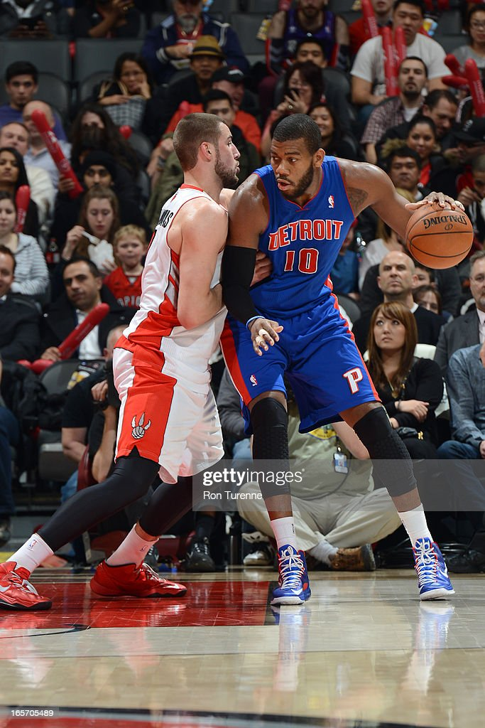 <a gi-track='captionPersonalityLinkClicked' href=/galleries/search?phrase=Greg+Monroe&family=editorial&specificpeople=5042440 ng-click='$event.stopPropagation()'>Greg Monroe</a> #10 of the Detroit Pistons looks to drive to the basket against the Toronto Raptors on April 1, 2013 at the Air Canada Centre in Toronto, Ontario, Canada.