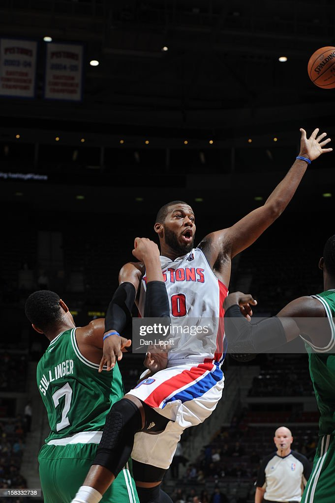 <a gi-track='captionPersonalityLinkClicked' href=/galleries/search?phrase=Greg+Monroe&family=editorial&specificpeople=5042440 ng-click='$event.stopPropagation()'>Greg Monroe</a> #10 of the Detroit Pistons looks to pass the ball against the Boston Celtics on November 18, 2012 at The Palace of Auburn Hills in Auburn Hills, Michigan.