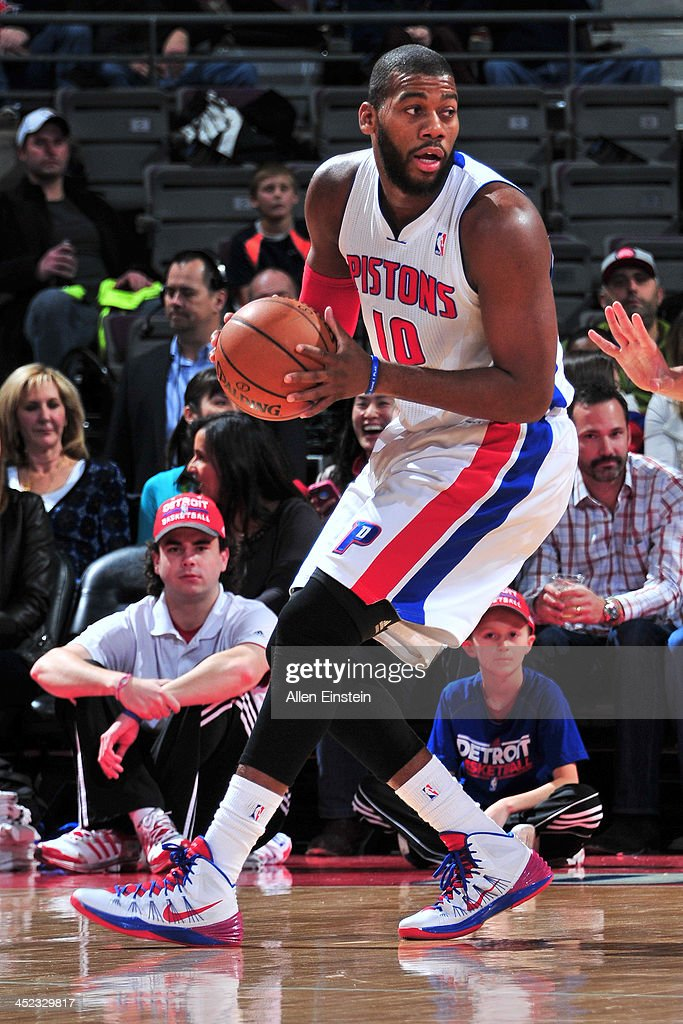 <a gi-track='captionPersonalityLinkClicked' href=/galleries/search?phrase=Greg+Monroe&family=editorial&specificpeople=5042440 ng-click='$event.stopPropagation()'>Greg Monroe</a> #10 of the Detroit Pistons passes the ball against the Chicago Bulls on November 27, 2013 at The Palace of Auburn Hills in Auburn Hills, Michigan.