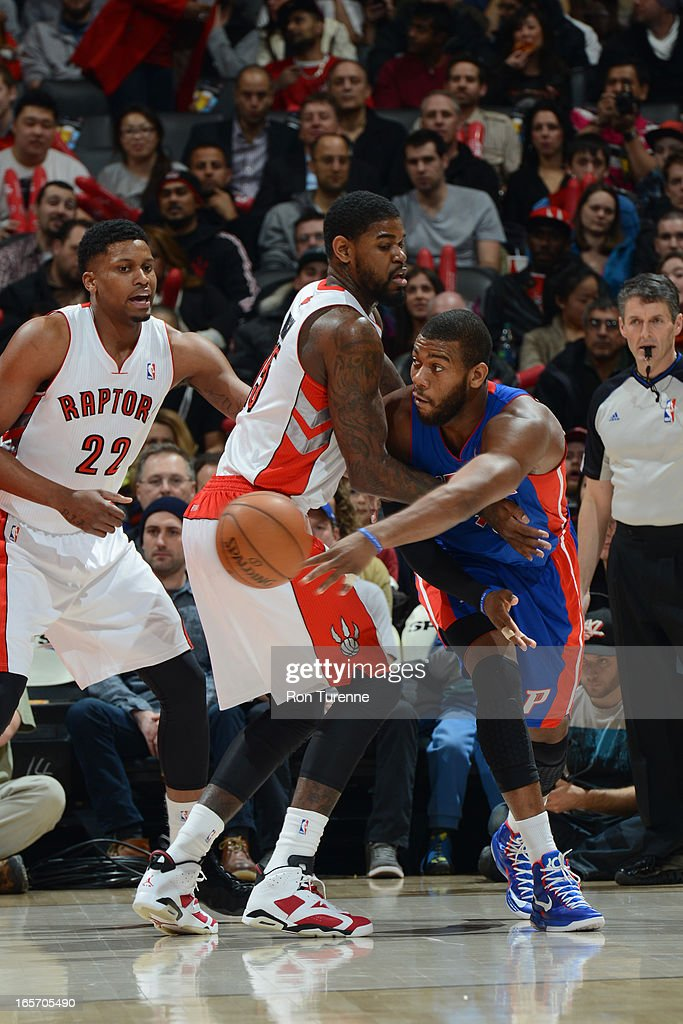 <a gi-track='captionPersonalityLinkClicked' href=/galleries/search?phrase=Greg+Monroe&family=editorial&specificpeople=5042440 ng-click='$event.stopPropagation()'>Greg Monroe</a> #10 of the Detroit Pistons passes the ball against the Toronto Raptors on April 1, 2013 at the Air Canada Centre in Toronto, Ontario, Canada.