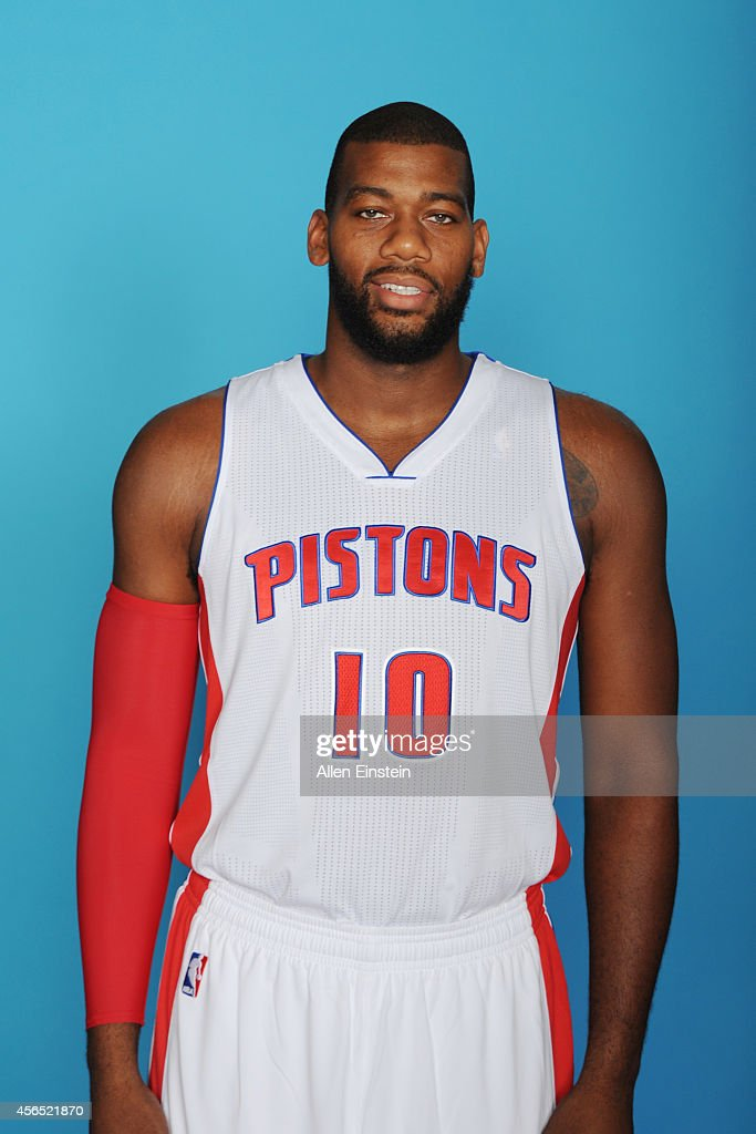 <a gi-track='captionPersonalityLinkClicked' href=/galleries/search?phrase=Greg+Monroe&family=editorial&specificpeople=5042440 ng-click='$event.stopPropagation()'>Greg Monroe</a> #10 of the Detroit Pistons poses during Detroit Pistons Media Day on September 29, 2014 in Auburn Hills, Michigan.