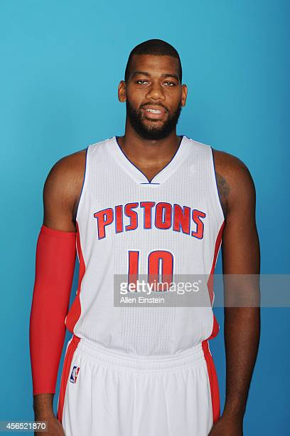 Greg Monroe of the Detroit Pistons poses during Detroit Pistons Media Day on September 29 2014 in Auburn Hills Michigan NOTE TO USER User expressly...