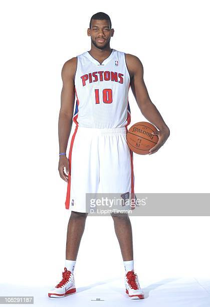 Greg Monroe of the Detroit Pistons poses during media day at the Piston's practice site on September 27 2010 in Auburn Hills Michigan NOTE TO USER...