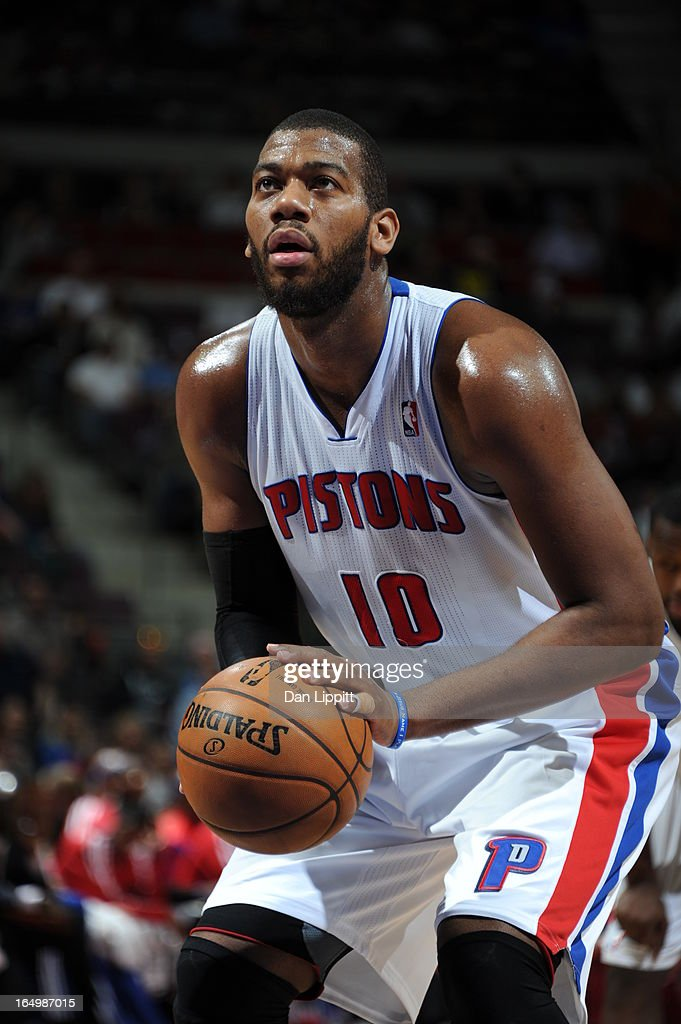 <a gi-track='captionPersonalityLinkClicked' href=/galleries/search?phrase=Greg+Monroe&family=editorial&specificpeople=5042440 ng-click='$event.stopPropagation()'>Greg Monroe</a> #10 of the Detroit Pistons prepares for a free throw during the game between the Detroit Pistons and the Toronto Raptors on March 29, 2013 at The Palace of Auburn Hills in Auburn Hills, Michigan.
