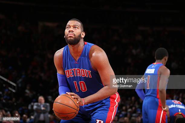 Greg Monroe of the Detroit Pistons prepares to shoot a free throw against the New York Knicks on April 15 2015 at Madison Square Garden in New York...