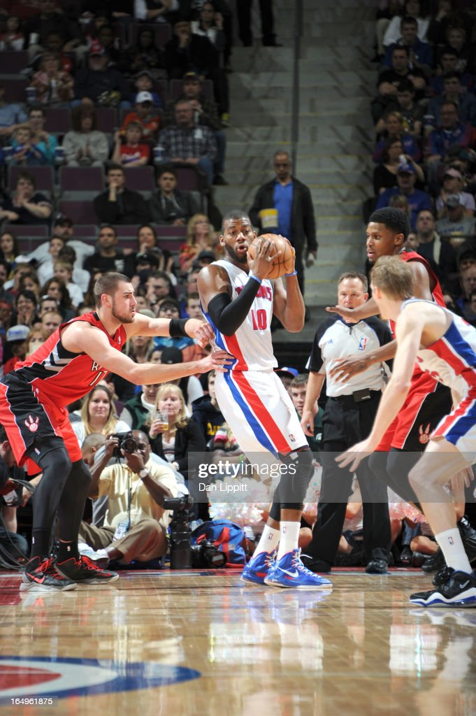 Greg Monroe #10 of the Detroit Pistons protects the ball during the game between the Detroit Pistons and the Toronto Raptors on March 29, 2013 at The Palace of Auburn Hills in Auburn Hills, Michigan.